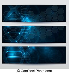 Abstract scientific DNA banners beautiful dark blue background with glow