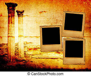 Abstract scratch ancient background in scrapbooking style with slides