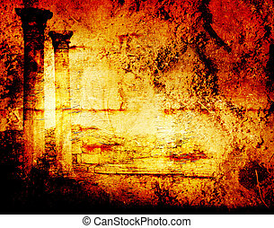 Abstract scratch ancient background in scrapbooking style with ruins