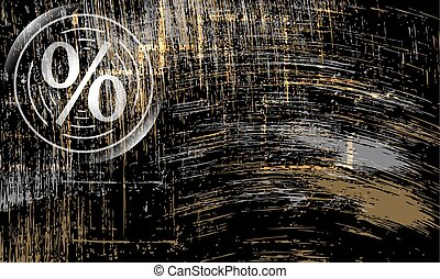 abstract scratched background and percent symbol
