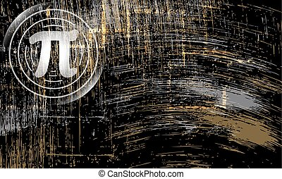 Abstract scratched background and pi symbol