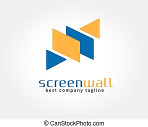 Abstract screen vector logo icon concept. Logotype template for branding