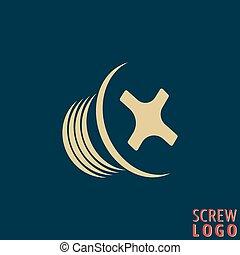 Abstract screw icon. Screw bolt logo. Screw logotype for...