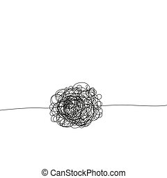 Hand drawing insane tangled scribble clew. - Abstract...