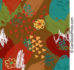 Abstract scribbles red green brown with flower and triangles