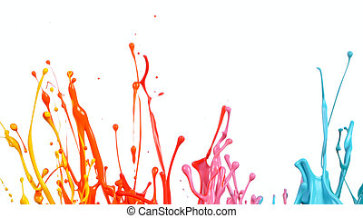 Abstract sculptures of colorful splashes of paint.