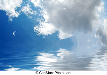 Abstract sea and sky with clouds.
