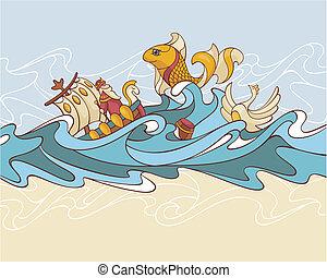 fairytale composition background - abstract sea fairytale...