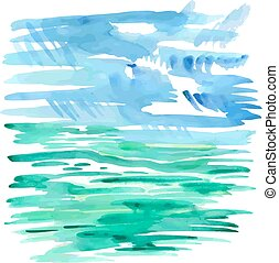 Abstract sea watercolor background