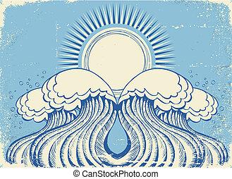 Abstract sea waves. Grunge vector illustration of symbol of sea waves