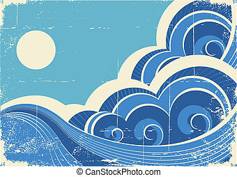 Abstract sea waves. Vector grunge illustration of sea landscape