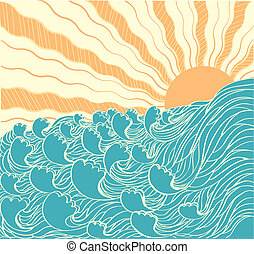 Abstract sea waves. Vector illustration of sea landscape with su