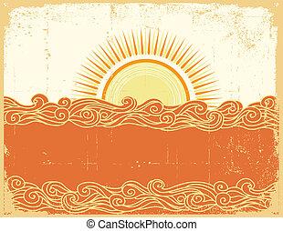 Abstract sea waves. Vector illustration of sea landscape.Grunge