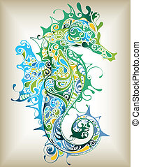 Illustration of seahorse on abstract background.
