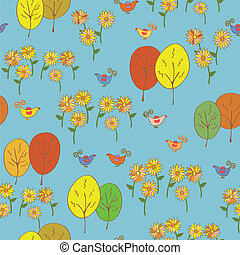 Abstract seamless autumn pattern with birds, trees, sunflowers and leaves