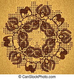 Abstract seamless background of circular patterns antique gold h