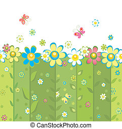 Abstract seamless background with blooming daisy