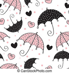abstract seamless background with umbrella and heart
