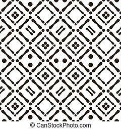 Abstract seamless black and white aboriginal pattern of circles and sticks. Cheerful contrast print. Vector illustration for various creative projects