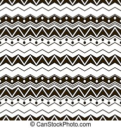 Abstract seamless black and white pattern with ethnic motifs