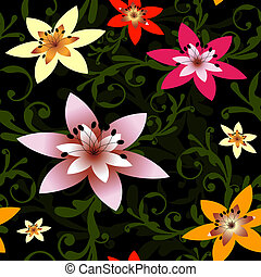 Abstract seamless black floral pattern (vector)