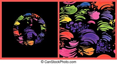 Abstract seamless black wallpaper with colorful brush strokes and hippie peace symbol with colorful splashed