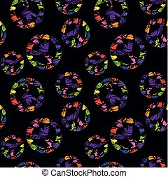 Abstract seamless black wallpaper with colorful brush strokes and variation hippie peace symbols with colorful splashed