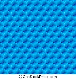 Abstract Seamless Blue Cube Background. Vector