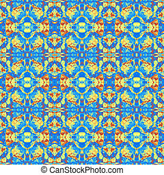 Abstract Seamless Blue Orange Yellow Violet paint stone cartoon texture background