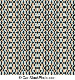 Abstract seamless braided pattern. Blue, orange, black colors. Optical illusion of volume and plasticity