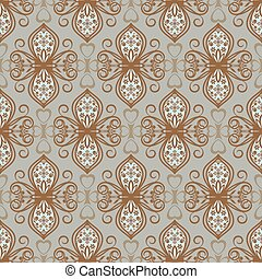 Abstract seamless brown and grey vintage floral vector pattern.