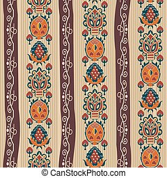 Abstract seamless ethnic pattern with tropical flowers. Vector i