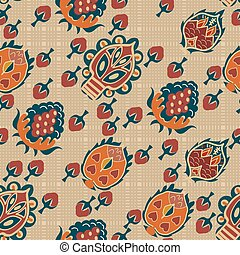 Abstract seamless ethnic texture with tropical flowers. Vector i