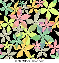 Abstract seamless floral black pattern