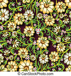 abstract seamless floral ornament with yellow flowers on brown background