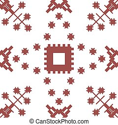 Abstract seamless geometric embroidery pattern. Contrasting...