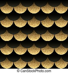 Abstract seamless geometric pattern with gold texture squama.