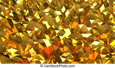 Abstract seamless gold triangular crystalline background animation