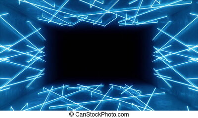 Abstract seamless looped 3d animation of neon, fluorescent ultraviolet light, moving forward. Flying in futuristic corridor. Neon lights that illuminate the interior. Mockup for your design project.