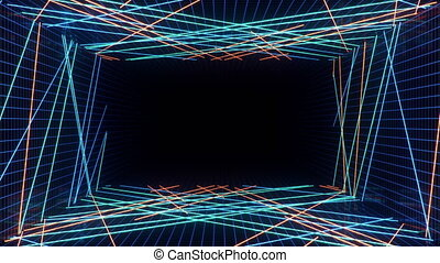 Abstract seamless looped 3d animation of neon, fluorescent ultraviolet light, moving forward. Flying in futuristic corridor. Neon lights that illuminate the interior. Mockup for your design project