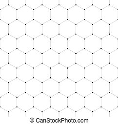 Abstract seamless pattern background. Hexagonal net of solid lines with dots in the cross points. Vector illustration