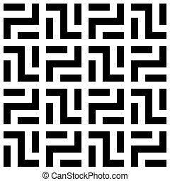 Abstract seamless pattern background. Maze of black geometric design elements isolated on white background. Vector illustration