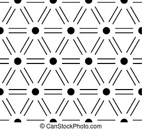 Abstract seamless pattern background. Regular diagonal grid of double solid lines with dots in the cross points. Vector illustration