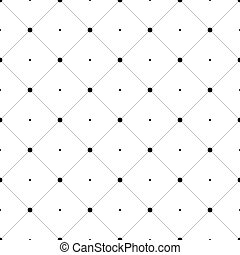 Abstract seamless pattern background. Regular diagonal grid of solid lines with dots in the cross points. Vector illustration