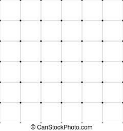Abstract seamless pattern background. Regular linear grid of solid lines with dots in the cross points. Vector illustration