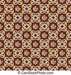 Abstract seamless pattern in retro style on the brown background