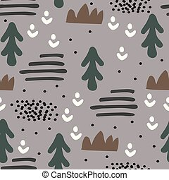 Abstract seamless pattern in scandinavian design. Hand drawn style. Forest illustration.