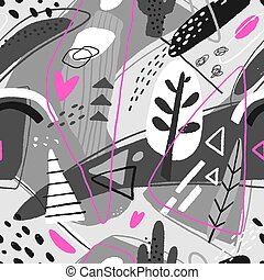Abstract seamless pattern. Modern background with abstract figures, stripes and floral elements.