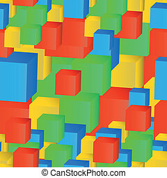 Abstract seamless pattern of colored cubes