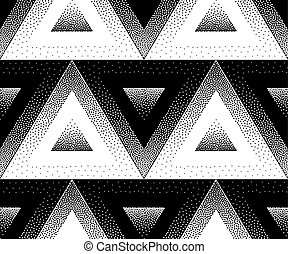Abstract seamless pattern of dots. The illusion of volumetric figures.